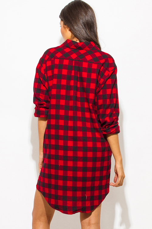 Cute cheap red cotton button up long sleeve checker plaid flannel tunic blouse top mini dress