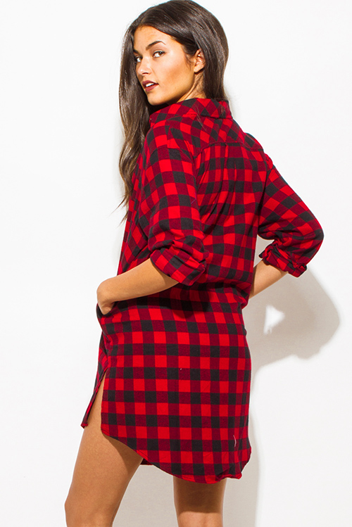 Womens Red And Black Plaid Flannel Shirt