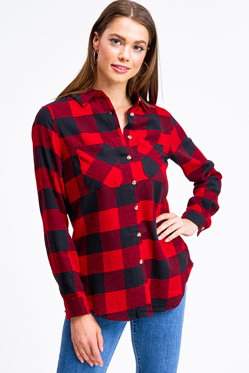 Cute cheap Red buffalo check plaid long sleeve button up flannel top