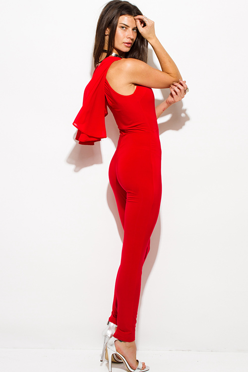 Cute cheap red butterfly flutter ruffle sleeve v neck cape keyhole back tie bodycon fitted clubbing catsuit jumpsuit