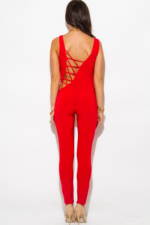 Cute cheap red caged cut out back fitted bodycon clubbing catsuit jumpsuit