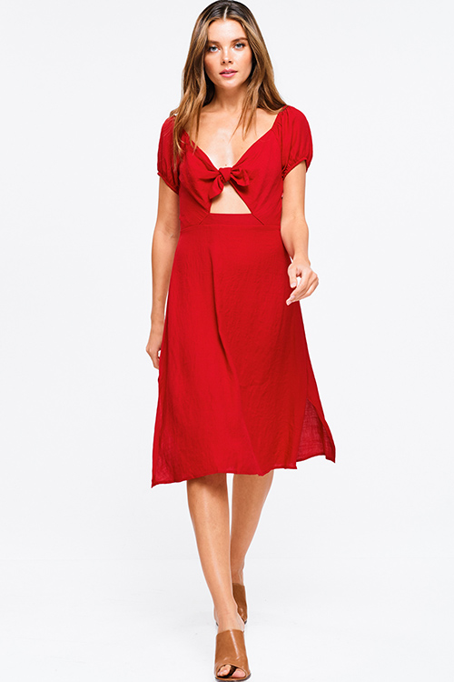Cute cheap Red cap sleeve cut out tie front shirred back side slit a line boho midi sun dress