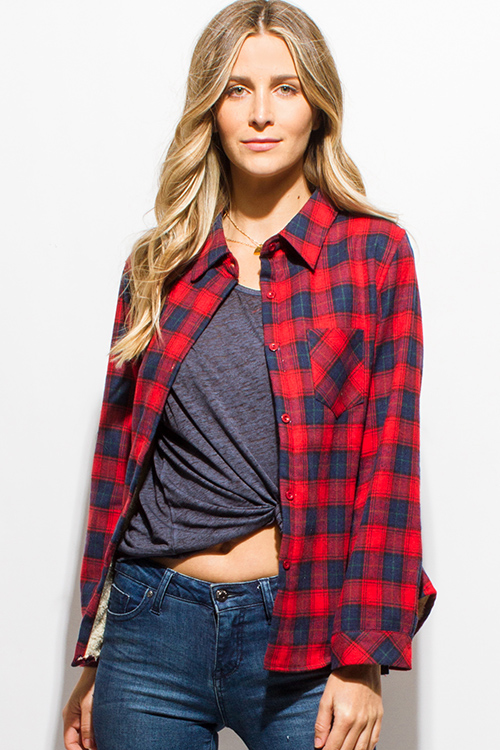 Cute cheap red navy blue checker plaid fleece lined long sleeve button up flannel top