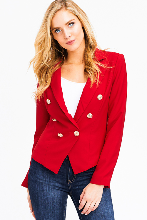 Shop Wholesale Womens Red Double Breasted Long Sleeve
