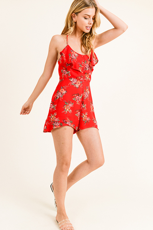 Cute cheap Red floral print sleeveless ruffled racer back cut out open back boho romper jumpsuit