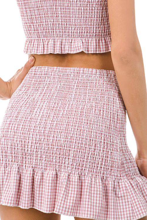 Cute cheap red gingham print smocked ruffle trim strapless boho crop top mini skirt set