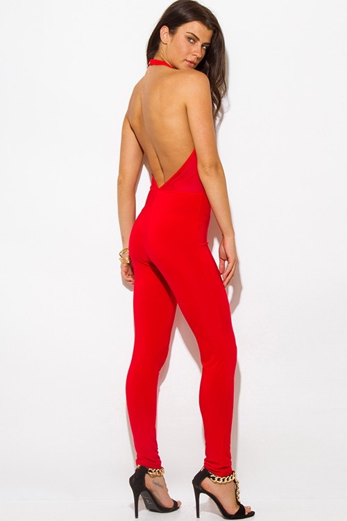Shop red halter high neck backless mesh panel fitted bodycon ...