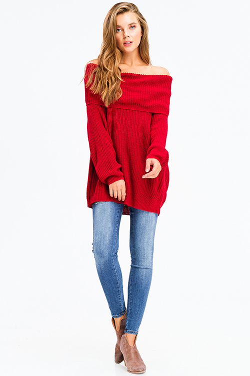 Cute cheap burgundy red knit long bubble sleeve cowl neck off shoulder boho sweater top