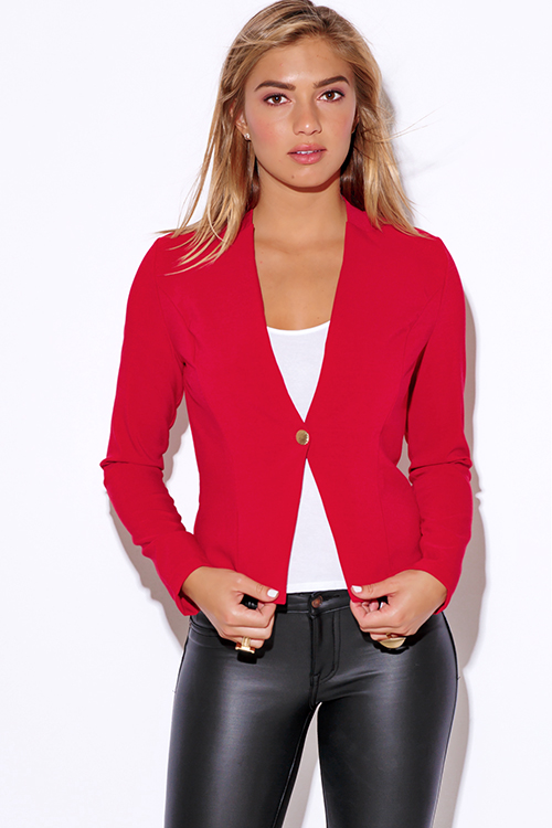 Cute cheap red long sleeve fitted collarless suiting blazer