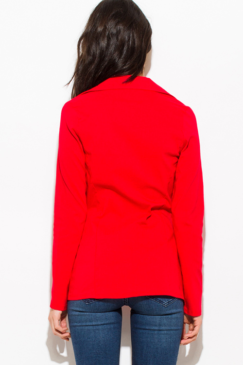 Cute cheap red long sleeve single button fitted jacket suiting blazer top