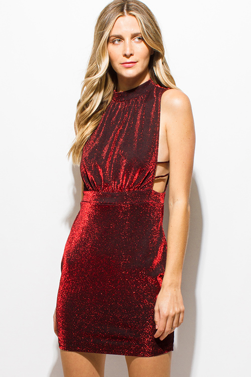 Cute cheap red metallic halter mock neck sleeveless caged cut out keyhole back bodycon club mini dress