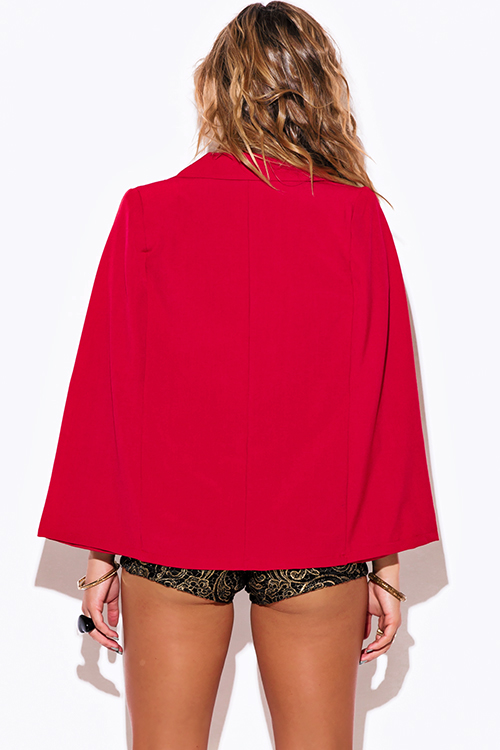 Cute cheap red military button cape jacket suiting blazer top