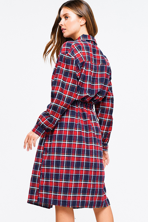 Cute cheap Red multicolor plaid flannel long sleeve belted button up pocketed midi shirt dress
