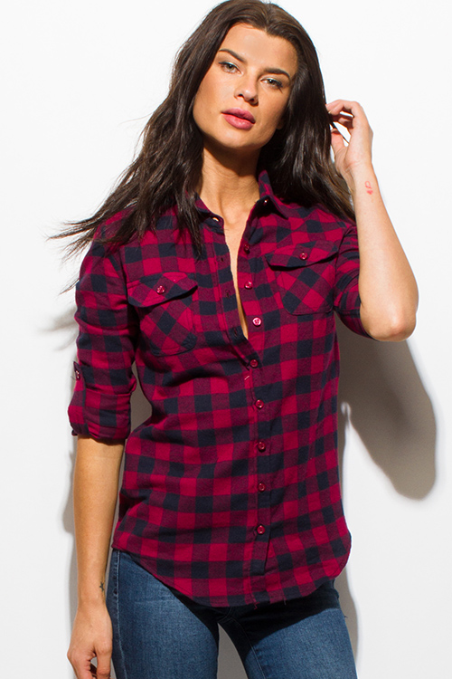 Cute cheap red navy blue checker plaid flannel long sleeve button up blouse top