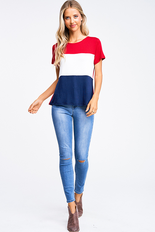 Cute cheap Red navy blue color block short sleeve boho tee shirt top