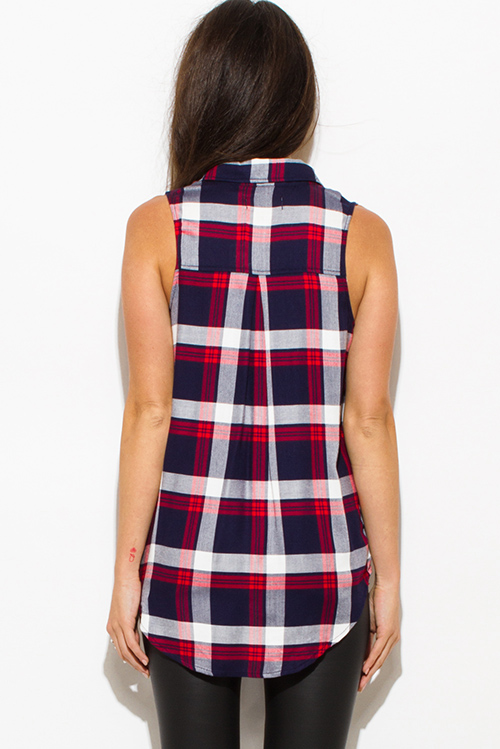 Cute cheap red navy blue plaid flannel sleeveless button up blouse top