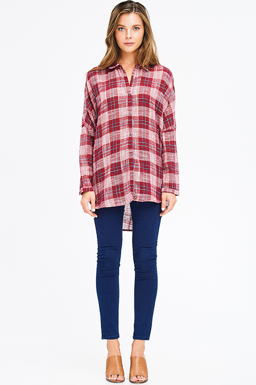 Cute cheap red plaid cotton gauze long sleeve high low button up tunic blouse top