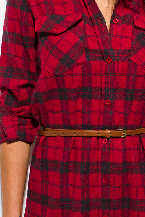 Cute cheap red plaid flannel button up long sleeve belted tunic mini shirt dress
