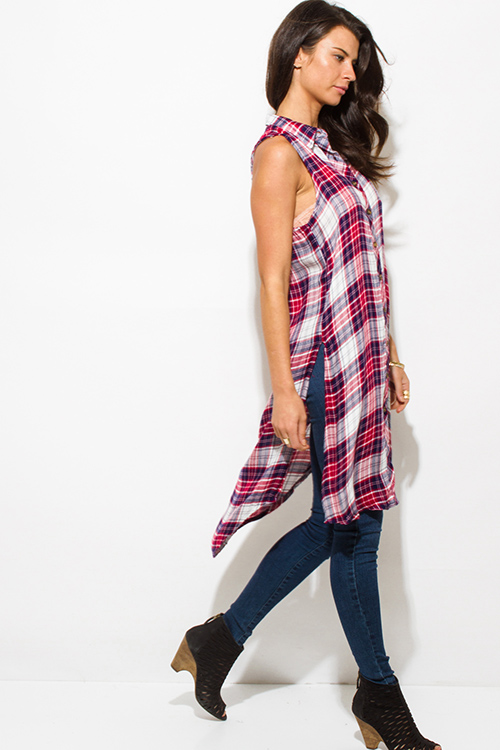 Cute cheap red plaid print sleeveless button up high slit boho midi tunic top