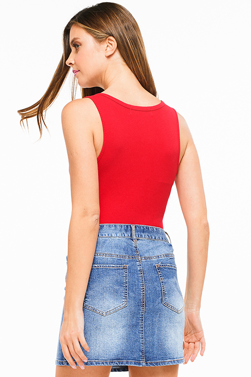 Cute cheap Red ribbed v neck button up sleeveless bodysuit top