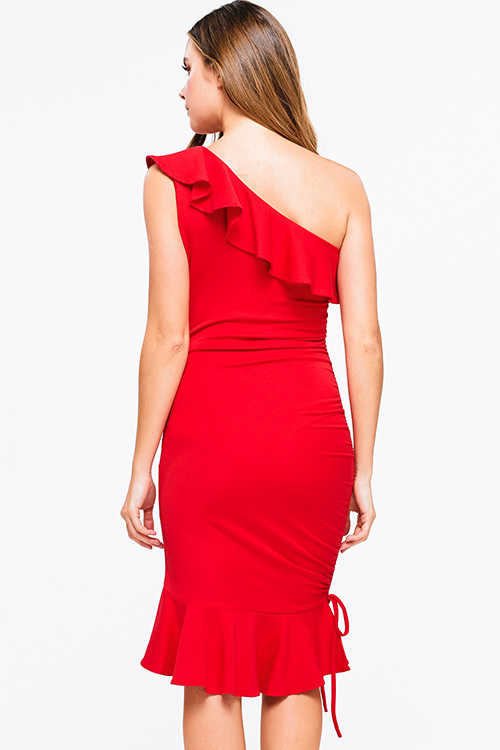 Cute cheap Red ruffled one shoulder ruched mermaid fitted club party midi dress