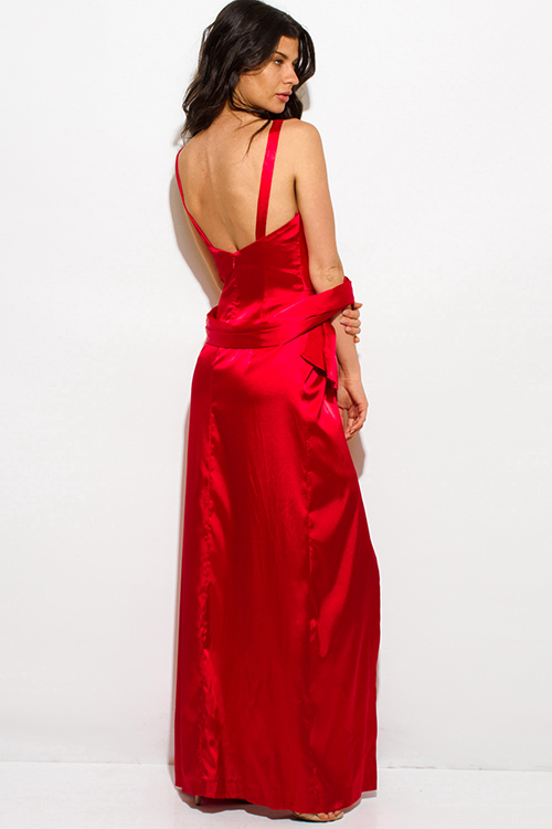 Cute cheap red satin embellished high low formal gown evening party dress