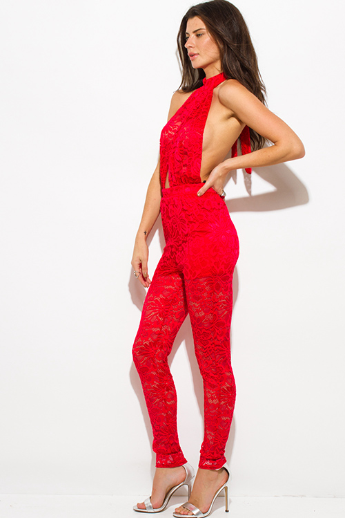 Cute cheap red sheer lace faux wrap halter backless catsuit jumpsuit