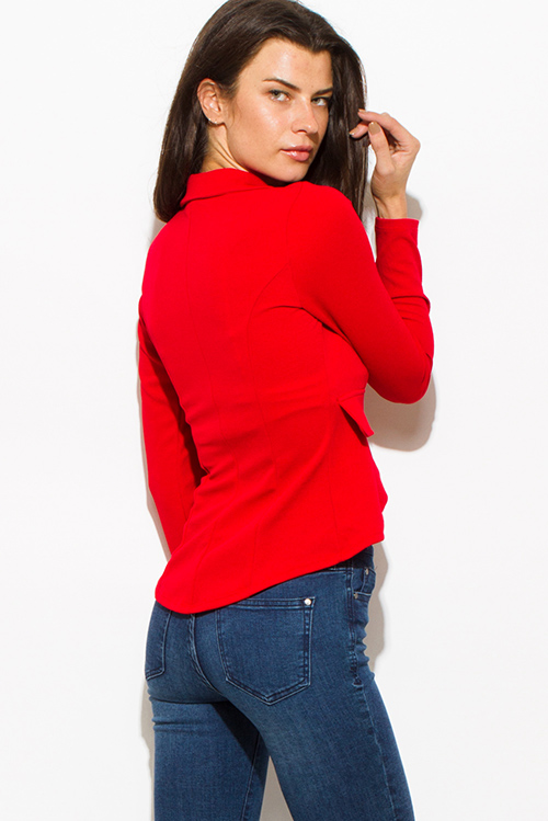 Cute cheap red single golden button long sleeve faux pockets fitted blazer jacket top