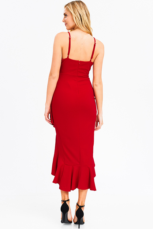 Cute cheap Red sleeveless faux wrap ruffle trim high low mermaid formal evening maxi dress