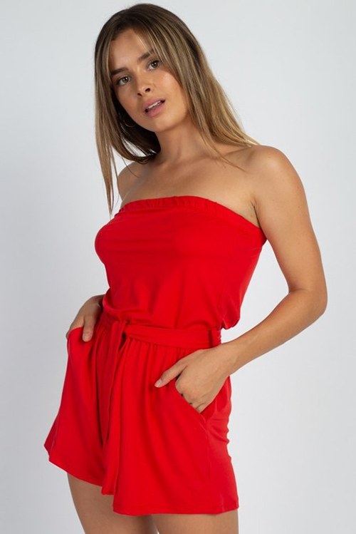 Cute cheap Red strapless tie waist boho resort pocketed romper playsuit jumpsuit