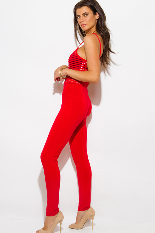 Cute cheap red stripe mesh spaghetti strap fitted bodycon clubbing catsuit jumpsuit