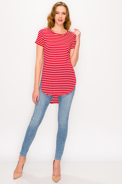 Cute cheap Red striped round neck short sleeve side slit curved hem tee shirt tunic top