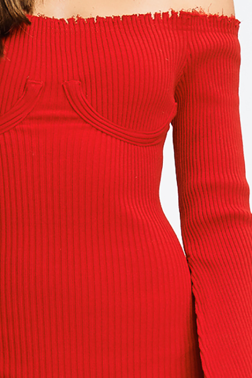 Cute cheap red sweater ribbed knit off shoulder long slit bell sleeve fitted bodycon club midi dress