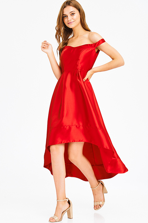 Cute cheap red sweetheart neck off shoulder high low hem formal gown evening party dress