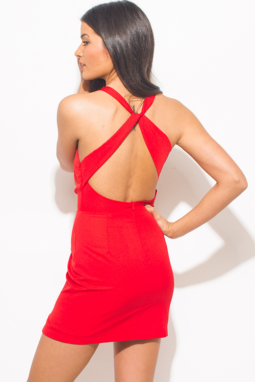 Cute cheap red v neck faux wrap criss cross back fitted cocktail party mini dress