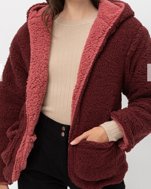 Cute cheap Reversible Teddy Faux Fur Sherpa Fleece Jacket