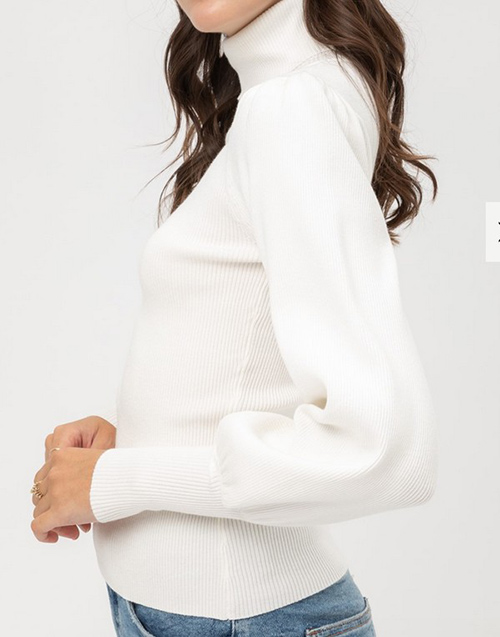 Cute cheap rib puff sleeve sweater