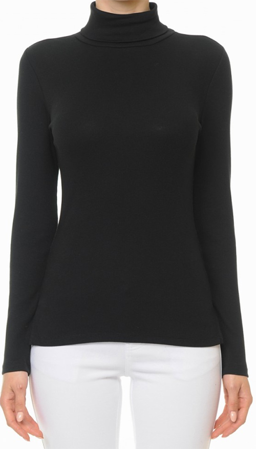Cute cheap ribbed turtleneck long sleeve top