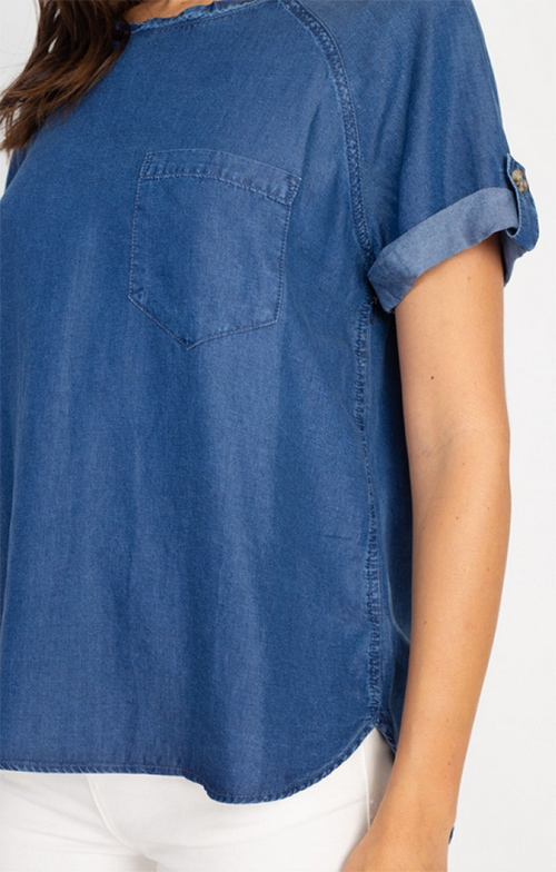 Cute cheap roll-up sleeves denim top