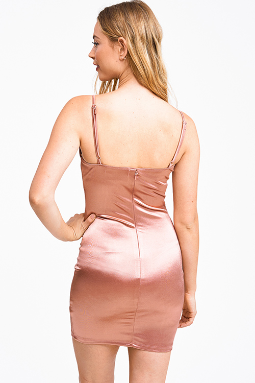 Cute cheap Rose gold satin sleeveless bodycon fitted club cami mini dress
