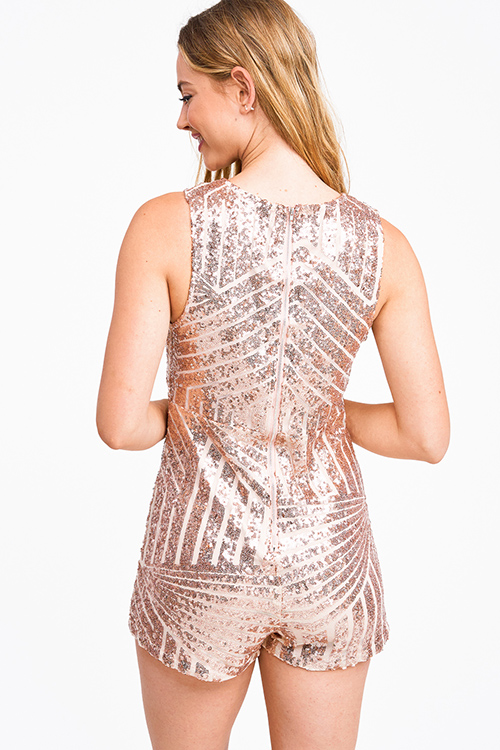 Cute cheap Rose gold sequined deep v neck sleeveless zip up back club romper jumpsuit