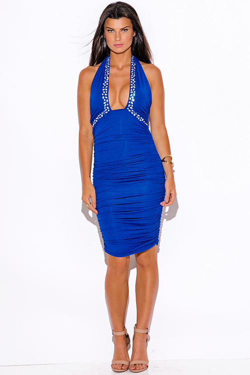 Cute cheap royal blue bejeweled ruched fitted wrapped neck halter formal cocktail party club midi dress