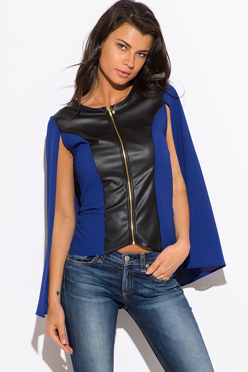 Cute cheap royal blue color block faux leather panel zip up cape blazer jacket