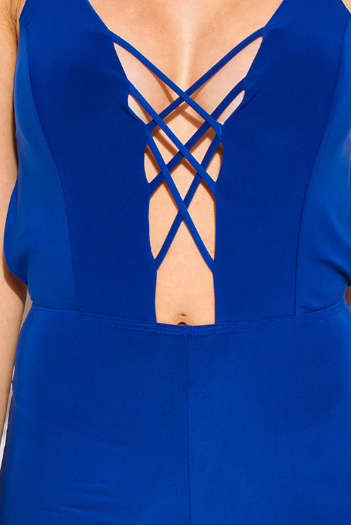 Cute cheap royal blue criss cross caged cut out front bodycon fitted criss cross caged backless clubbing catsuit jumpsuit