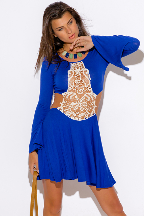 Cute cheap royal blue crochet cut out backless bell sleeve boho summer party mini dress