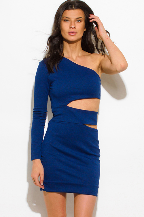 Cute cheap royal blue houndstooth print one shoulder cut out bodycon mini dress