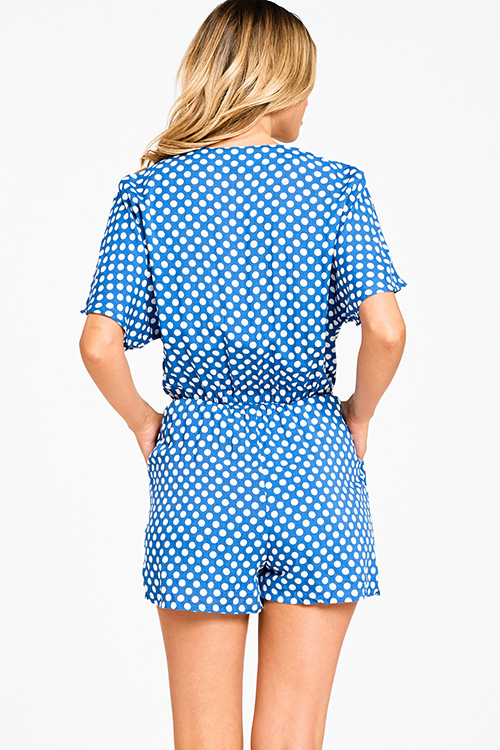 Cute cheap Royal blue polka dot print short sleeve cut out tie front pocketed boho romper jumpsuit