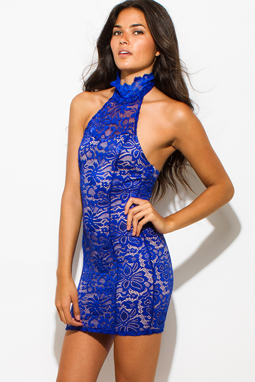 Cute cheap royal blue sheer lace overlay high halter neck backless bodycon fitted mini club dress
