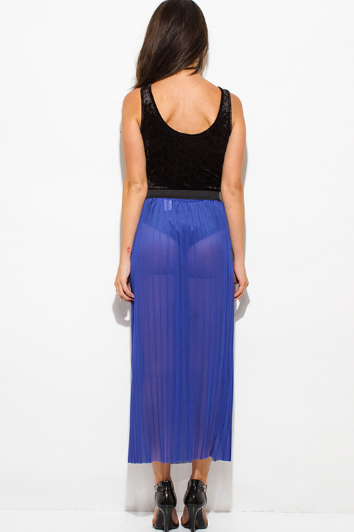 Cute cheap royal blue sheer mesh tulle banded pleated evening party maxi skirt