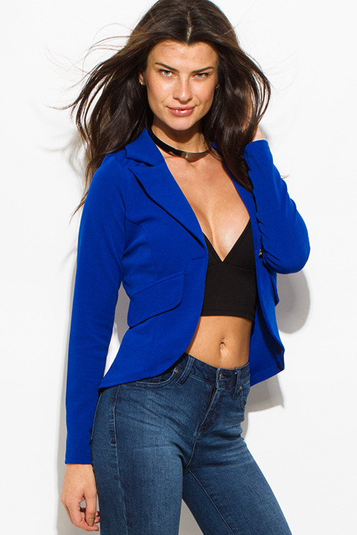 Cute cheap royal blue single golden button long sleeve faux pockets fitted blazer jacket top